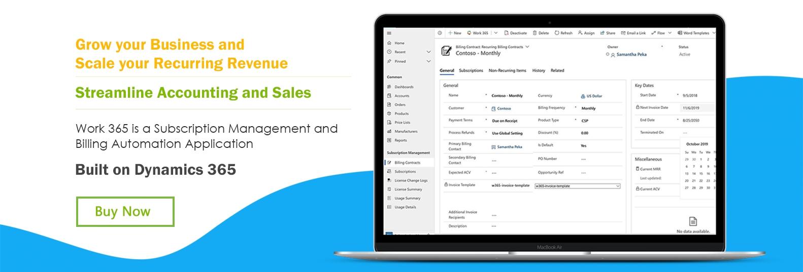 Work 365 Subscription Management and Billing Automation Platform